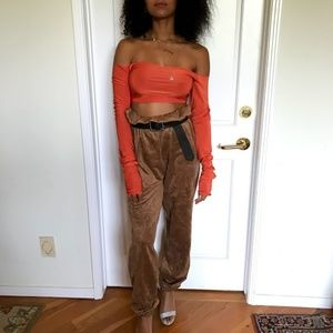 Orange Off the shoulder Stretch Crop Top